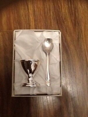 Silver plated egg cup and spoon