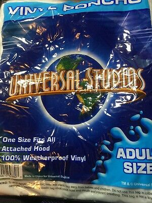 Universal Studios Poncho Raincoat Adult One Size Attached Hood 100% Waterproof