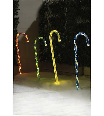 Outdoor 4 Light Up LED Lights Large Candy Canes Stake path Christmas Decoration