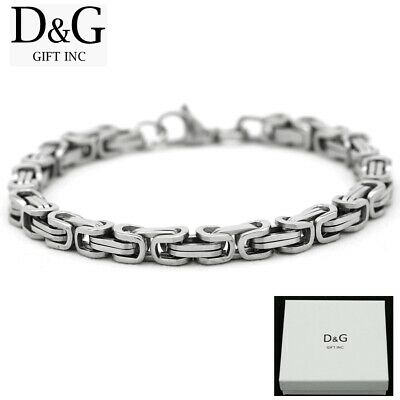 """Box Details about  /DG Men/'s 8.5/""""Gold Stainless Steel 6mm Byzantine Box Chain Bracelet,New"""