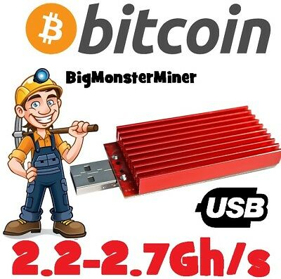 1 x RedFury USB 2.2Gh/s Mining Asic Miner Bitcoin 2.7Gh/s with Overclock & Fan