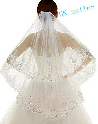 2017 2 Layer Lace white/Ivory Elbow Length Sequin Wedding Bridal Veil With Comb