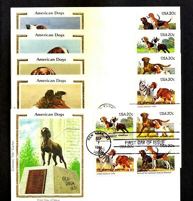 1984  DOGS  ISSUE  SC#2098-2101a  (5)  FDC's  ALL  COLORANO CACHETS  U/A