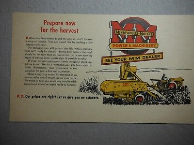 Vintage Collectible Minneapolis Moline One Cent Advertising Postcard
