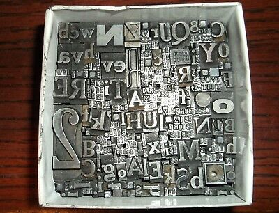 No.53 LOT OF 320 + PIECES LETTERPRESS PRINTERS TYPE LETTERS NUMBERS LEAD BLOCKS