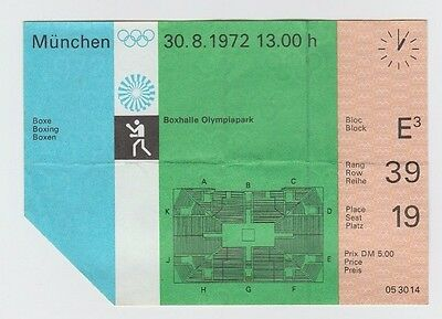 Orig.Ticket   XX.Olympic Games MÜNCHEN 1972 - BOXING // 30.08.  !!  VERY RARE