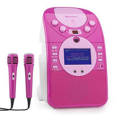 (B-Ware) Mobil Musik Anlage Karaoke System Party Kinder Sd Usb Mp3 2 Mikros Pink