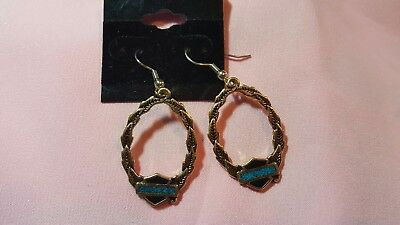 Harley davidson goldtone and turquoise  earrings