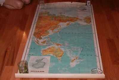 Rare Original Vintage The World 3 Panel Army Core of eng.  Series 1125 Wall Map
