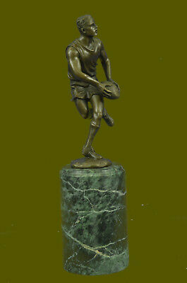 Signed Real Bronze on Marble Football NFL Rugby Athlete Figurine Sculpture Decor