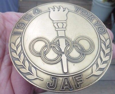 Large Round Vintage 1964 Tokyo Olympic Games Brass Car Badge Mascot