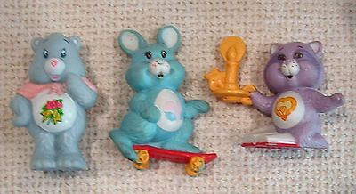 "3 Vintage 1984 2"" tall plastic CARE BEAR FIGS gramps and cousins racoon + rabbit"