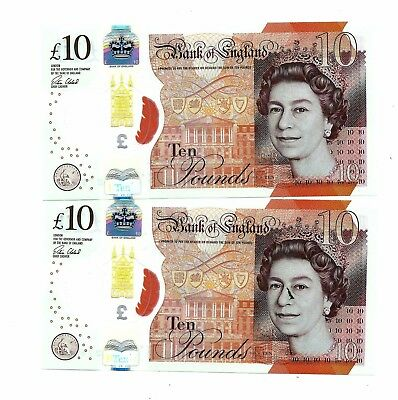 Bank of England New 10 Pounds 2017 Polymer AA First Series x 2 Consecutive UNC