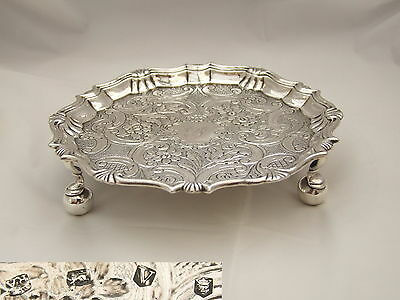 Rare George Ii Hm Sterling Silver 3 Footed Salver 1735