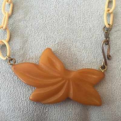 Bakelite & Celluloid Necklace With Lesf