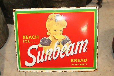 Sunbeam Bread porcelain enamel sign vintage style Country store Advertising GAS