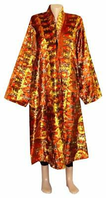 Cozy Autumn Winter Uzbek Robe Jacket Chapan  Hand Printed Silk Velvet A10807