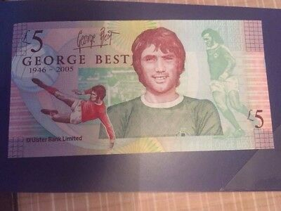 George Best Five Pound Note uncirculated with commemoration foldler