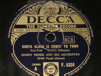HARRY RESER & ORCH Santa Claus Is Coming To Town/Jingle Bells DECCA 78rpm