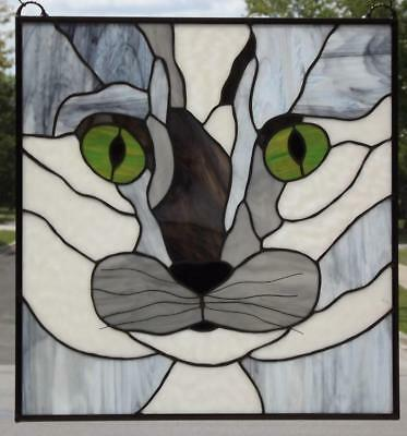 """Magical Cat -Stained Glass Window Panel-21 1/4""""X 20 1/4""""( 54 x51.5cm)"""