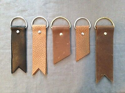 Lot of 5 Assorted Handmade Leather Keychains, Key Fobs, D-Rings, Black & Brown
