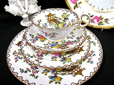AYNSLEY TEA CUP AND SAUCER 4PIECE TRIO painted  PINK ROSE TEACUP MIKADO