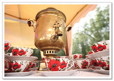 Russian Tea Party Flowers Samovar FOOD Still Life #173 modern collection card