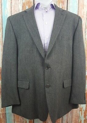 Chaps Size 50R Wool Herringbone 2 Button Single Breasted Mens Blazer