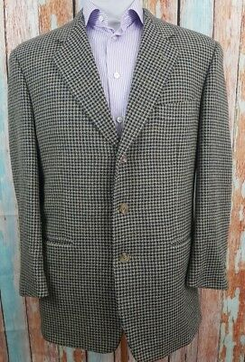 Corneliani For Harry Rosen Black and Grey Size 40R Wool Houndstooth Mens Blazer