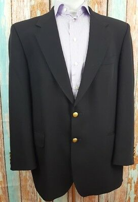 Marks & Spencer Black  Size 46M Wool  Gold Button Mens Blazer