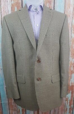Ralph Lauren Size 40R Wool And Silk Blend Houndstooth 2 Button Beige Blazer