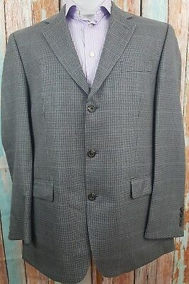 Chaps Size 40R Wool Silk blend 3Button Single Breasted  Windopane Blazer