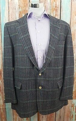 Chaps Ralph Lauren 46R Wool Windowpane 2 Button Single Breasted Mens Blazer