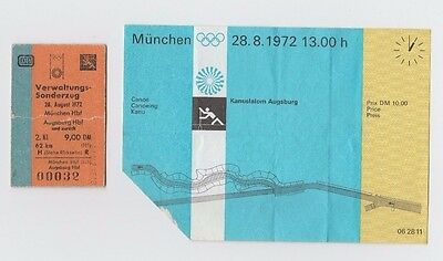 Orig.Ticket + train ticket   Olympic Games München 1972 - CANOEING  2 Finals  !!