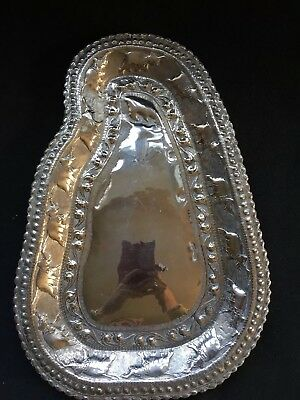 Vintage /Antique Sri Lanka Ceylon Silver Map Dish Tray Platter