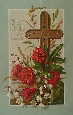 Beautiful, bright, embossed Religious Victorian  Card 18&1/2x12cms.1870s