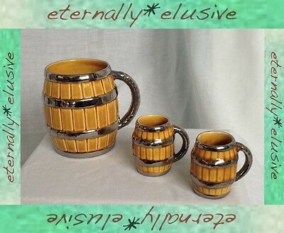 Vintage Retro WADE Porcelain Beer Barrel Tankard Cup + Bonus Mugs Lustre Finish