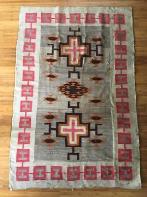 "Vintage Navajo Rug Blanket Transitional Period Crosses & Conchos Design 68""x46"""