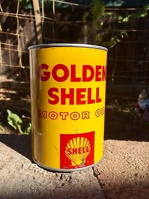 Vintage Tin Golden Shell Oil Can