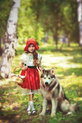 Kids Girl Red Riding Hood Animals ART #178 Russian Collection modern Card