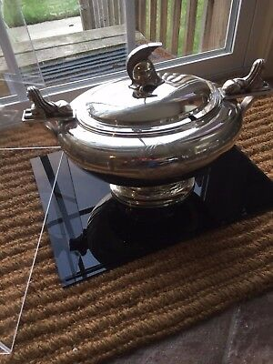 ANTIQUE EGYPTIAN REVIVAL SILVER PLATE SOUP TUREEN 1800s