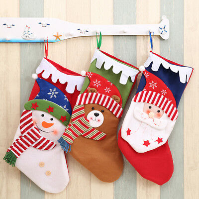 Candy Bag Christmas Tree Ornament Stocking Santa Claus Snowman Sock Decor TO