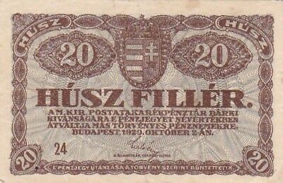 1920 Hungary 20 Filler Note, Pick 43