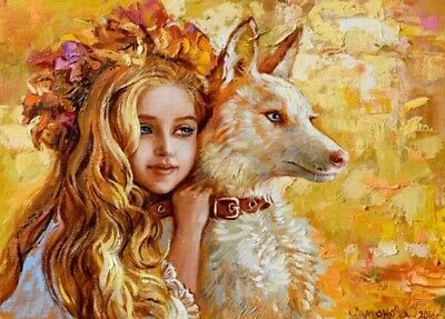 Kids Girl Dog puppy ANIMALS ART  #179 Russian Collection modern Card