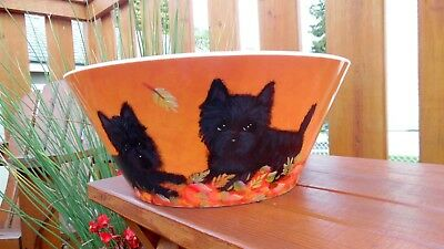 One of a Kind Original Hand Painted Cairn Terrier Fall/Halloween Serving Bowl