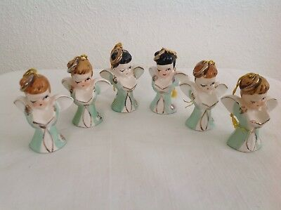 Vintage Tiny Christmas Singing Angel Ornaments~Made In Japan~Set Of 6