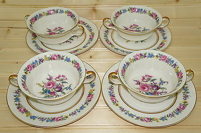 Castleton Manor Lot of (4) Cream Soup Bowls & (4) Saucers or Underplates 7 1/8""