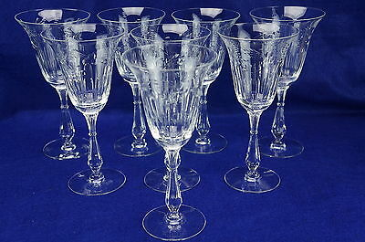 "Tiffin Colton #17399 Lot of (8) Water Goblets, 8"" Tall"