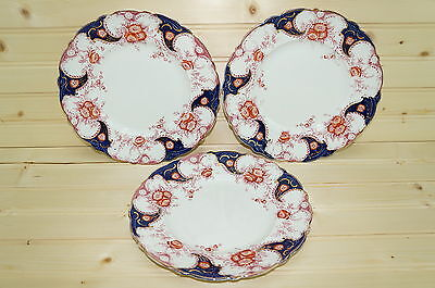 "Wood & Sons Lois (3) Salad Plates 8"" Flow Blue England"