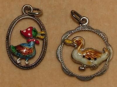 Superb Two Vintage German Silver Enamel Comical Bird Charms